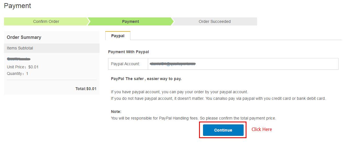 選擇Paypal支付